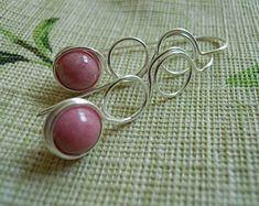 Boucles d'oreilles Rhodonite avec argent, Contempo fil enroulé, Pretty rose perlé, cadeau pour elle, cadeau moins de 20 ans