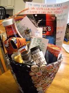 "apology basket: Jerky- I'm sorry I've been ""Jerky"".  Mint Mouthwash- I never ""mint"" to hurt you.  Nutella Spread- I can ""Nutella"" how bad I feel.  Basketball (Beverage Holder)- I ""swish"" it never happened.  Orbit Mist gum- When I think about it, my eyes get all ""misty"".  Axe Body Wash- I ""Axe"" for your forgiveness."