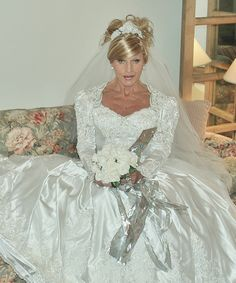 thetransgenderbride:Here's another romantic picture from bridal crossdresser Lisa Thomas. This gown is from the Era of Romance (1980s-early 1990s).