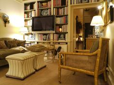 Benjamin Bradley: Looking across the living room. The gilt bamboo chairs are from Dessin Fournir.