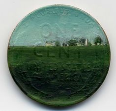 Tiny oil paintings on pennies, by Jacqueline Lou Skaggs.