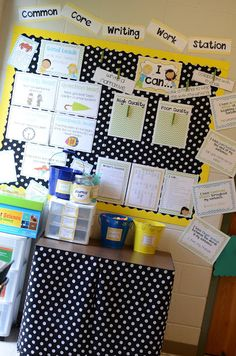 """This is a common core writing workstation! Everything is labeled and displayed so all of the students can start writing effectively. There is a writers checklist, a mini word wall, and an """"I can"""" chart for all students."""