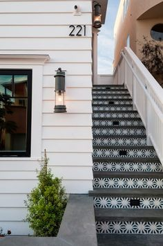 Granada Tile's Tunis Cement Tile used as stair risers Outdoor Step Tiles, Outdoor Steps, Patio Tiles, Cement Tiles, Exterior Tiles, Exterior Stairs, Interior Exterior, Exterior Design, Front Door Steps