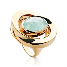 Sea Blue Chalcedony and 18CT Vermeil Honey-Moon Ring