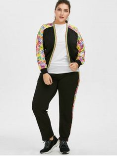 dd8eac6e26ed Plus Size Floral Zipper Jacket With Joggers