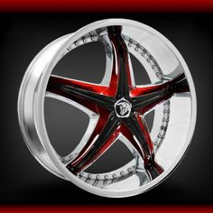 Custom Red and Black Rims | Model: A5 Diablo Reflection X with Custom Red Refl. Prop. 22 RWD