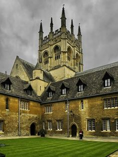 Ages old buildings and Chapel tower of Merton College.