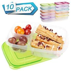10 Pack Meal Food Prep Containers 3 Compartment Portion Control Bento Lunch Box #SCIONE #Custom