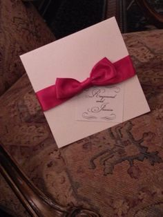 BOW INVITATION with Crystal Brooch and Guests Names adorning outside invitation Perfect CHIRSTMAS/Holiday Invitation