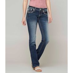 Miss Me Signature Boot Stretch Jean - Blue 24/31 ($99) ❤ liked on Polyvore featuring jeans, blue, slim bootcut jeans, slim fit jeans, zipper jeans, stretch jeans and low rise slim bootcut jeans
