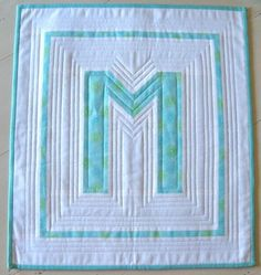 Letter M with and My Sister Designs Quilting Tutorials, Quilting Projects, Quilting Ideas, Sewing Tutorials, Letter Patterns, Quilt Patterns, Mini Quilts, Baby Quilts, Alphabet Quilt