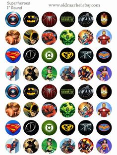 Old Market Corner: FREE Superhero Bottle Cap Collage SheetYou can find Bottle cap images and more on our website.Old Market Corner: FREE Superhero Bottle Cap Collage Sheet Bottle Cap Magnets, Bottle Cap Necklace, Bottle Cap Art, Bottle Top, Diy Bottle, Bottle Cap Projects, Bottle Cap Crafts, Anniversaire My Little Pony, Printable Images