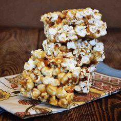 Salted Caramel Popcorn Bars
