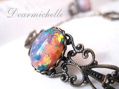 Victorian Vintage Pink Fire Opal Bracelet, Vintage Jewelry, Antique Bronze Glass Fire Opal Bracelet, Iridescent Bracelet, Opal Jewelry