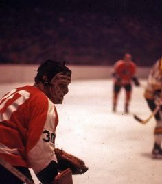 Early photo of Bernie Parent with the Philadelphia Flyers.