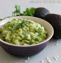 AVOCADO RISOTTO  ~~~~~  Risotto is usually pretty creamy, but add an avocado and it becomes eeeeven creamier. It's quite mild-tasting, but if you love avocados like I do, you'll appreciate that the avocado flavour is allowed to shine through