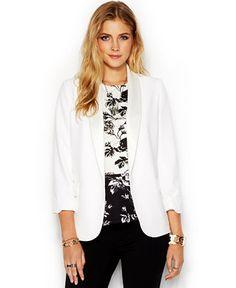 Bar III Three-Quarter-Sleeve Satin-Lapel Blazer - Jackets & Blazers - Women - Macy's