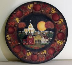 Folk Art Wood Plate - MADE TO ORDER - Hand painted Fall Wooden Plate Saltbox House, Red Barn, Church, Apples, Sheep, Full Moon, Autumn Leaf by RavensBendFolkArt on Etsy