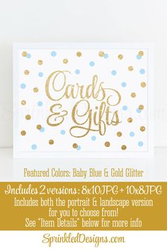 Gift & Cards Sign for Wedding Birthday or Baby Shower Gifts Table Party Sign 2 Set - Baby Blue Gold Glitter Printable Party Decorations by SprinkledDesigns.com