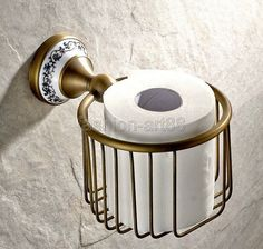 33.74$  Watch now - http://dia0f.justgood.pw/ali/go.php?t=32429246529 - Antique Brass Ceramic Base Bathroom Wall Mounted Toilet Paper Roll Holder Tissue Basket Holder Bathroom Accessory aba404