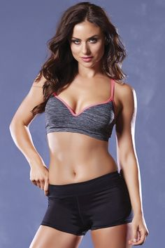 Grey and Coral Push Up Sports Bra in S