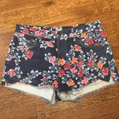 Floral Printed Denim Citizens of Humanity Shorts Floral printed denim shorts by citizens of humanity with high waist cut and button front closure. Very short and fit a 6/8. In excellent condition and only worn once! Citizens of Humanity Jeans