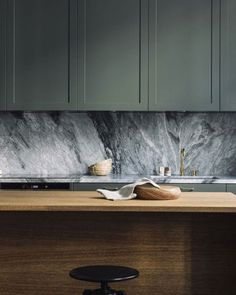 My Current Kitchen Mood The Moody Kitchen Forest Green Units Monochrome Marble Worktops And Calming Natural Wood Residential Interior Design, Home Interior, Interior Design Kitchen, Retail Interior, Brown Interior, Design Bathroom, Kitchen Designs, Home Decor Kitchen, New Kitchen