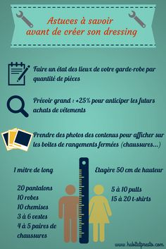 Astuces pour créer un dressing | http://www.habitatpresto.com/interieur/rangement/203-organiser-dressing #dressing #rangement #garderobe