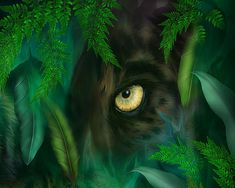 This painting of a panther eyes looking through a lush jungle is from the Spirit Of The Wild - Big Cats collection of art by Carol Cavalaris. This design is also available in an image with a tiger and panther together.