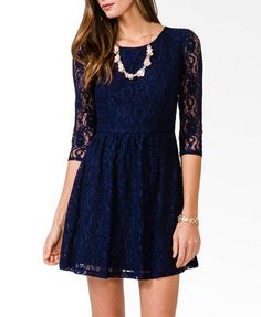 Forever 21: 3/4 Sleeve Lace Dress in Navy Blue