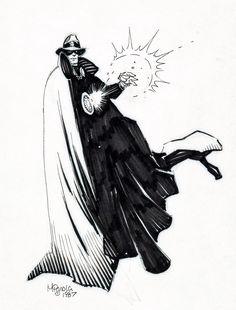 The Phantom Stranger sketch by Mike Mignola, 1987.
