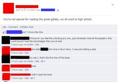"""32 Mind-Melting Moments Of Monumental Cringe - Funny memes that """"GET IT"""" and want you to too. Get the latest funniest memes and keep up what is going on in the meme-o-sphere. Melting Moments, Best Facebook, Funny Facebook, Go To High School, The Great Gatsby, Cringe, Book Worms, The Book, Books To Read"""