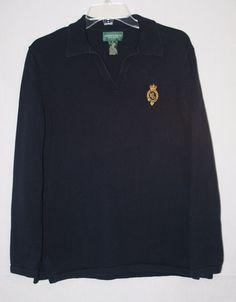 Lauren Jeans Co Ralph Lauren Navy Blue Collared Sweater Large Women's Fall Winter Fashion