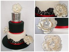 Red, Black and white cake Edible silver leaf
