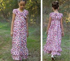 children's fashion workshop - blog - dotted maxidress (requires a patterns).  Good inspiration.