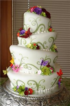 Topsy turvy butterflies & flower cake