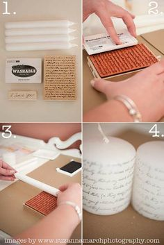 DIY printed candles. Wouldn't they be cool for a wedding, with something special like a poem or your vows printed on them.