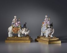 A PAIR OF KÄNDLER PERIOD FIGURINES PROBABLY BY JOHANN JOACHIM KÄNDLER AND PETER REINICKE, THE PORCELAIN: MEISSEN, DATE CIRCA 1743-50. THE GILT BRONZE MOUNTS: PARIS, DATE CIRCA 1775.