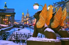 Striking. Statues stand proud covered in snow in the city of St. Petersburg. #Snow #Russia