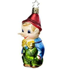 """$39.50 Truth or Consequences - Pinocchio Christmas Ornament     """"Life Touch"""" painting technique      Measures approximately 4 1/4""""      Mouth blown, European hand painted"""