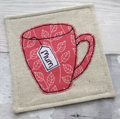 Personalised Tea Cup Coaster for Mum - Fabric Coaster- Gift for Her £7.50                                                                                                                                                                                 More