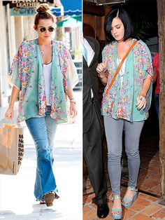 Miley Cyrus and Katy Perry Mint/Teal Floral Kimono Boho Kimono, Kimono Fashion, Boho Fashion, Floral Kimono, Kimono Top, Katy Perry, Jennifer Aniston Style, Summer Outfits, Cute Outfits