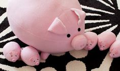 The Most Cutest D.I.Y. Tutorial Ever! How To Sew Your Own Pig Footstool With Piglet Kids Toys.