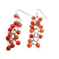 Dark Citrine Orange Beaded Earrings Sterling Silver Earrings Handmade Earrings