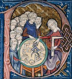IPAZIA  Allegoria della Geometria. Miniatura tratta dal manoscritto Burney 275 degli Elementi di Euclide, nella traduzione latina dall'arabo attribuita a Adelardo di Bath, circa 1309-1316 (British Library, Londra).