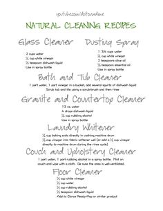 Natural Cleaning Recipes from Do it on a Dime