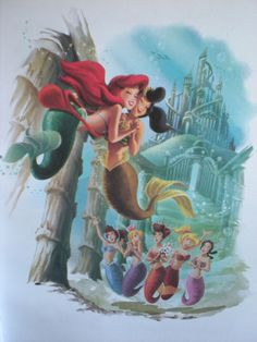 The Little Mermaid: Ariel-The Birthday Wish -- more of her six beautiful sisters! Ariel Mermaid, Mermaid Disney, Ariel Disney, Disney Little Mermaids, Mermaids And Mermen, Ariel The Little Mermaid, Mermaid Art, Disney Magic, Disney Girls