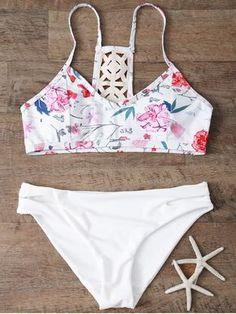 Low Rise Floral Bikini Set - WHITE S Mobile