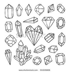 crystals diamonds gems and mineral stones hand drawn outline illustration vector set