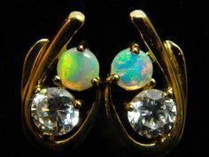BEAUTIFUL SOLID OPAL 9K GOLD EARRING SCO1515